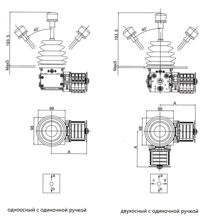 Габаритные и установочные рамеры джойстика QT7B