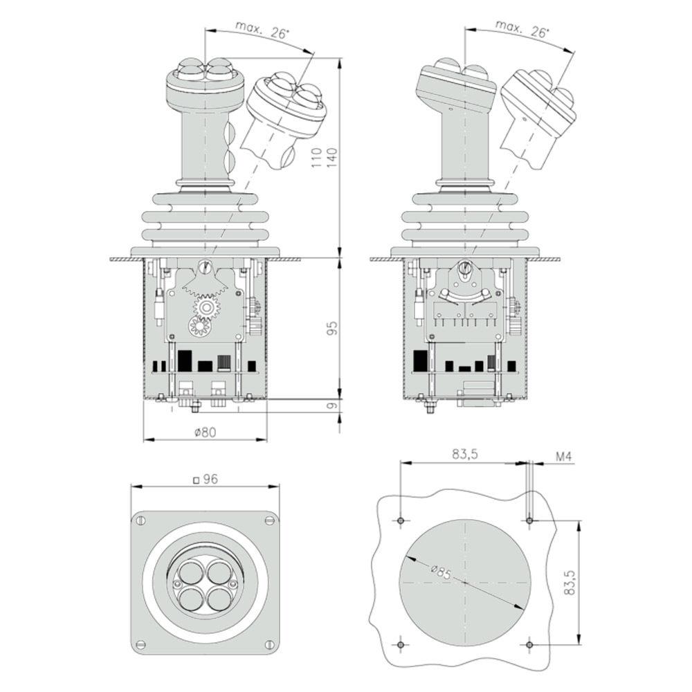 Габаритно присоединительные размеры джойстика CS1
