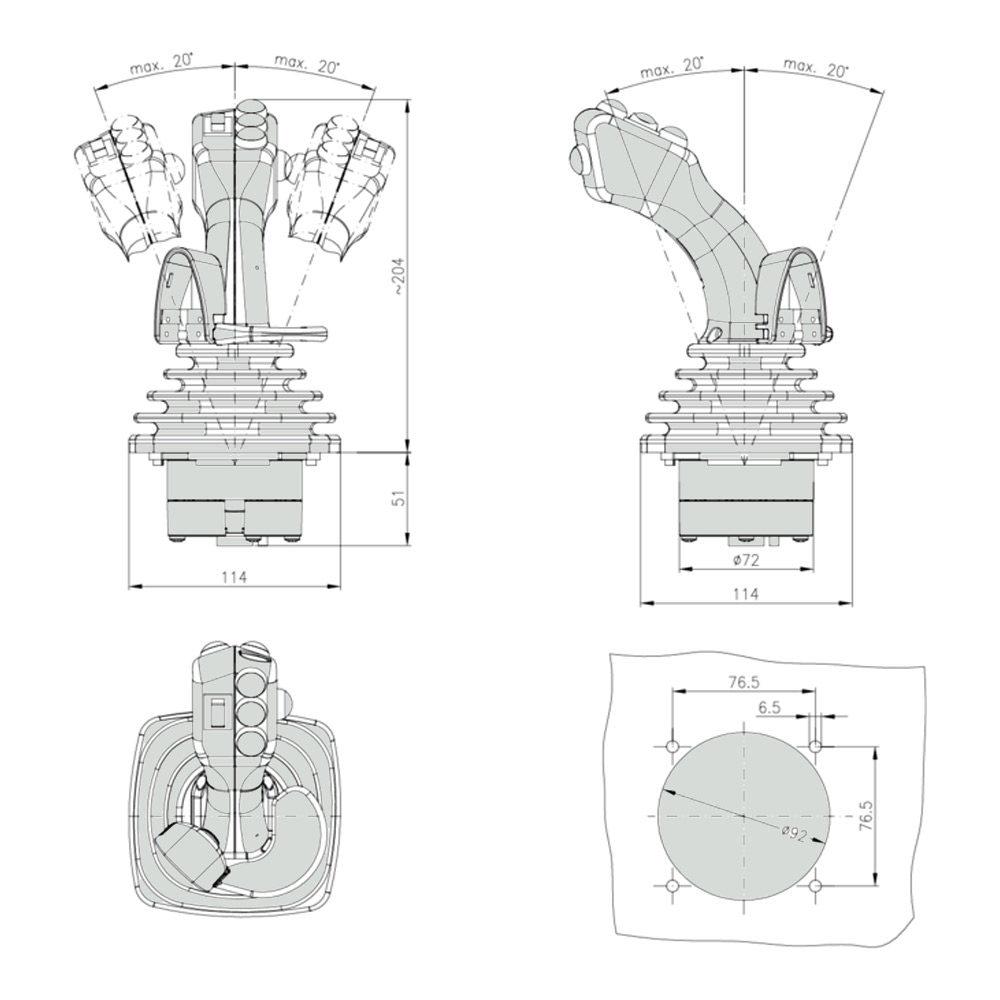 Габаритно присоединительные размеры джойстика HS2