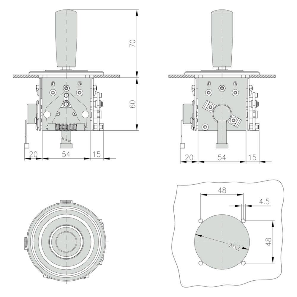 Габаритно присоединительные размеры джойстика JMS3
