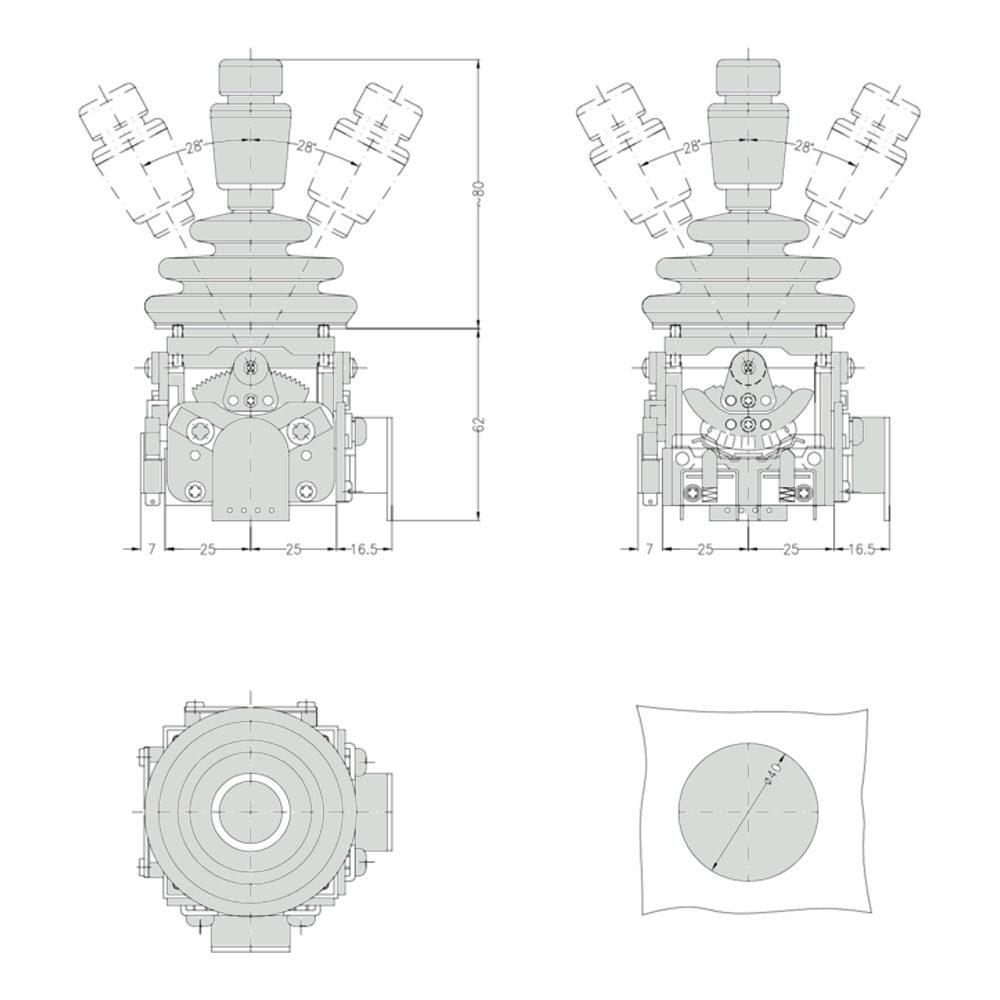 Габаритно присоединительные размеры джойстика M0