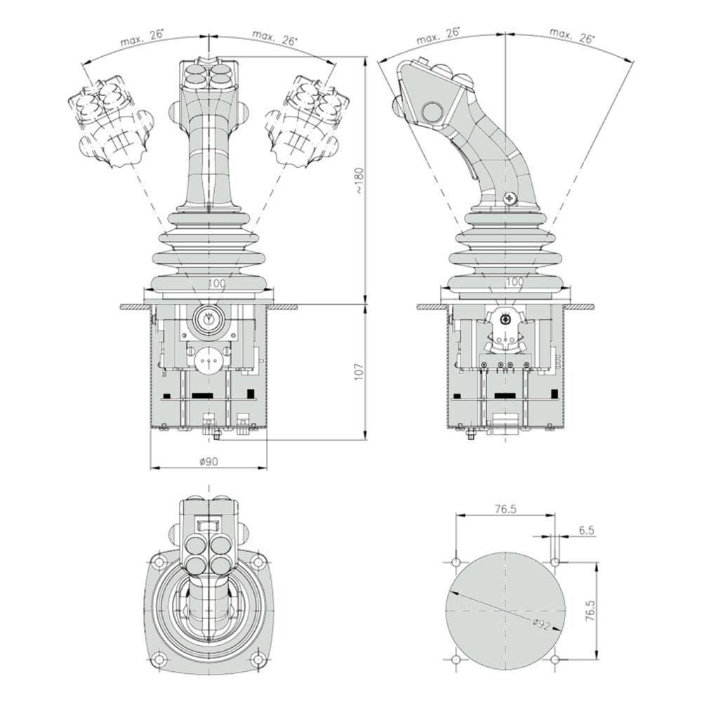 Габаритно присоединительные размеры джойстика NS3