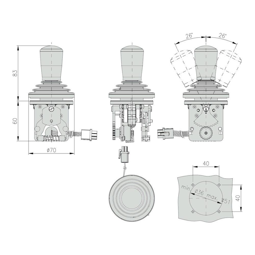 Габаритно присоединительные размеры джойстика ST4