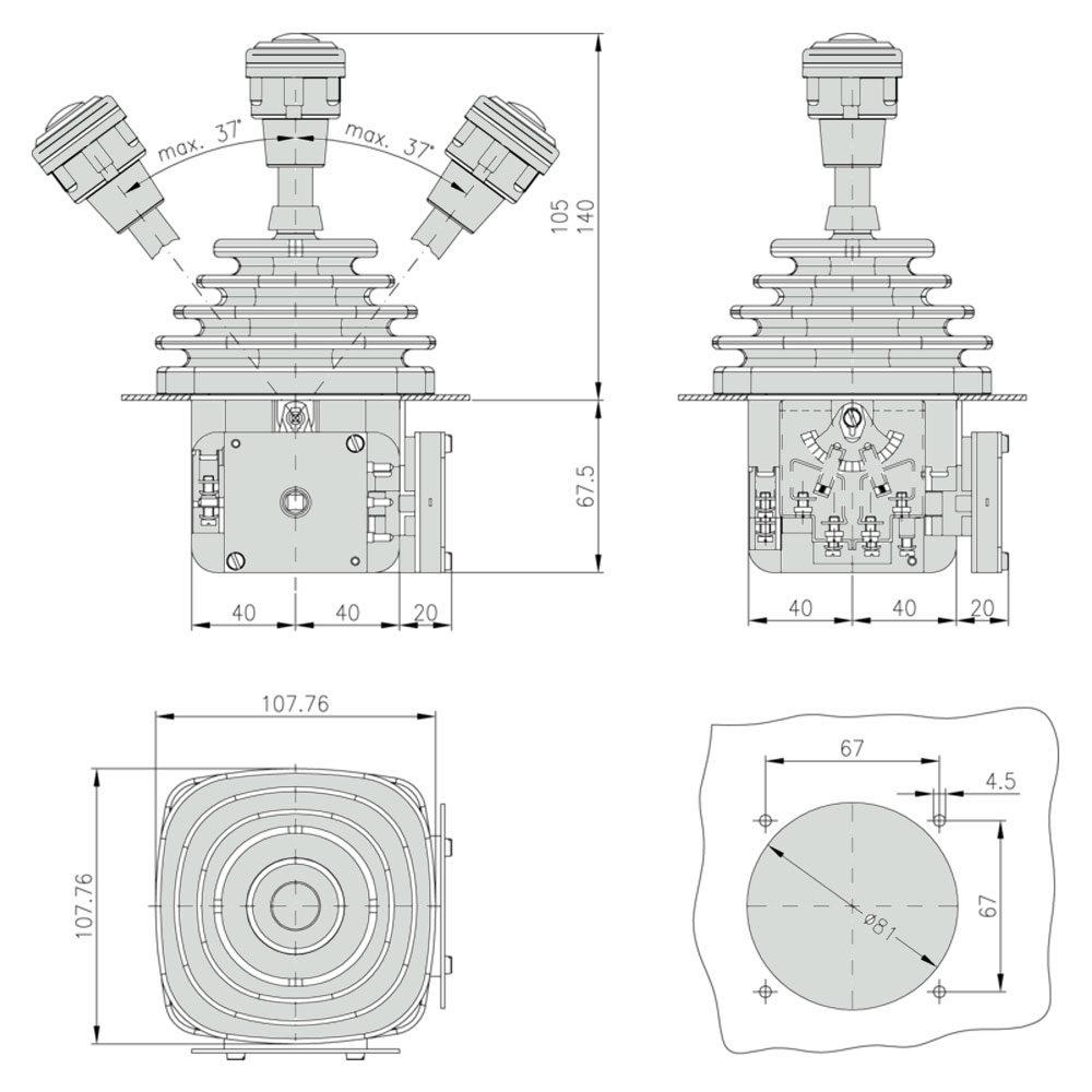 Габаритно присоединительные размеры джойстика VCSO