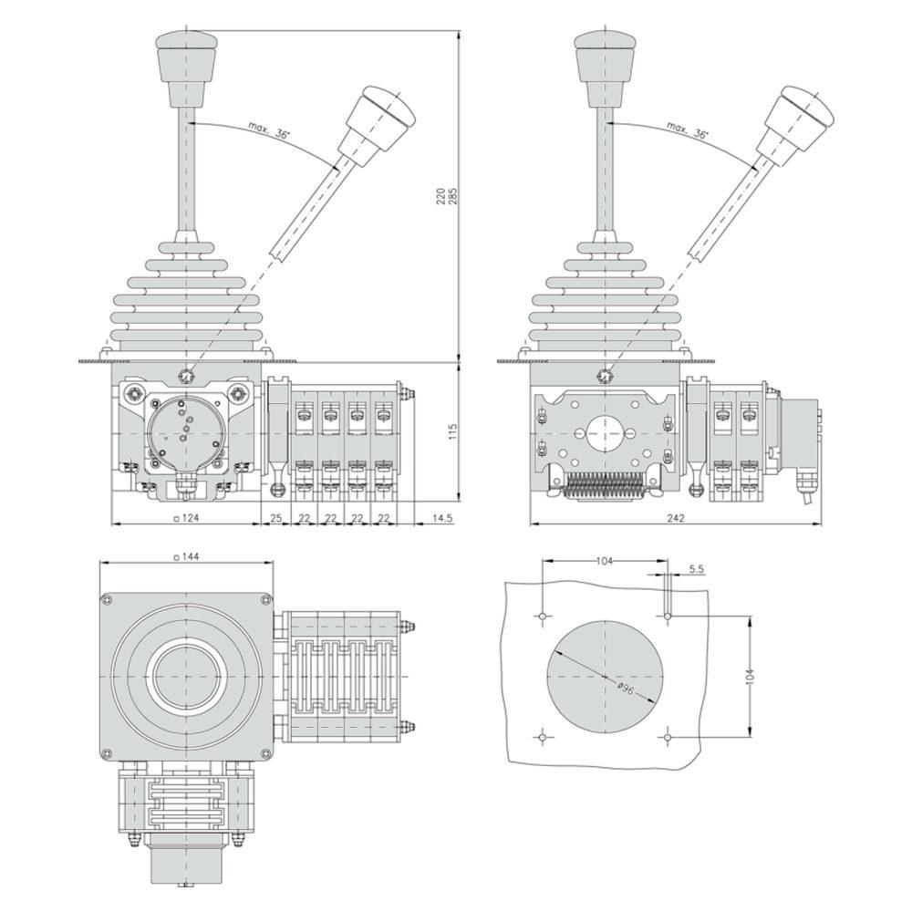 Габаритно присоединительные размеры джойстика VNS2